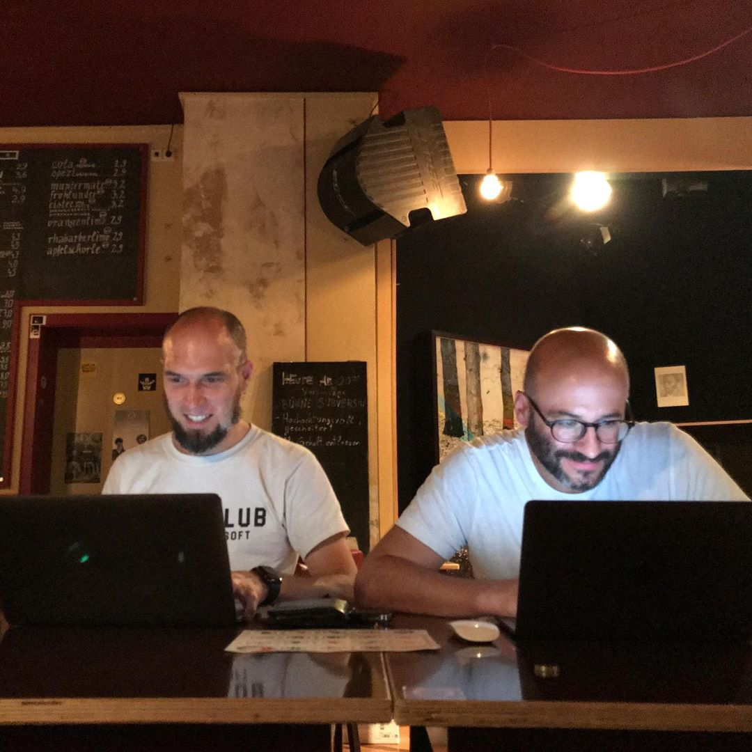 Matthias and Daniel at the Homebrew Website Club Karlsruhe 2019-08-07