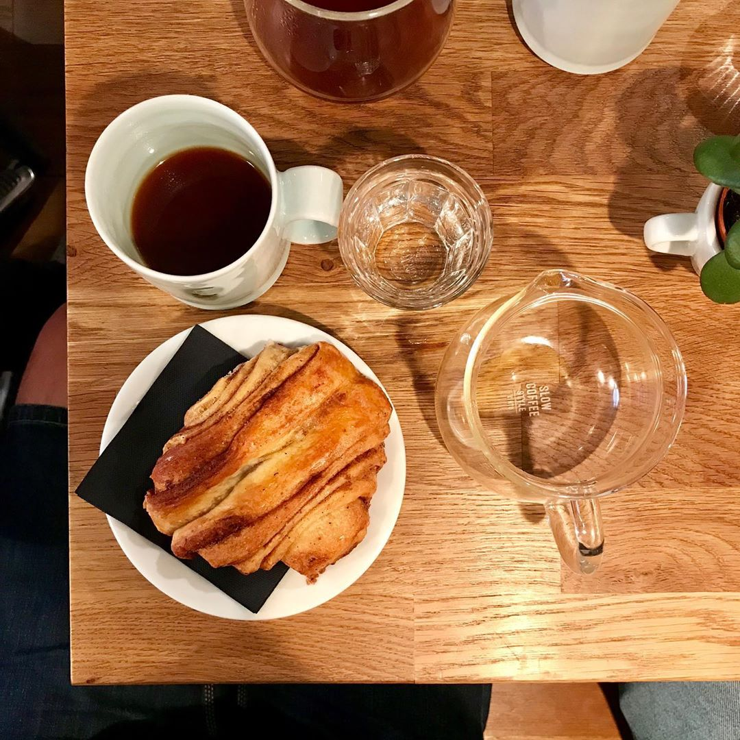 Cup of coffee and a cake at Kaffeekommune