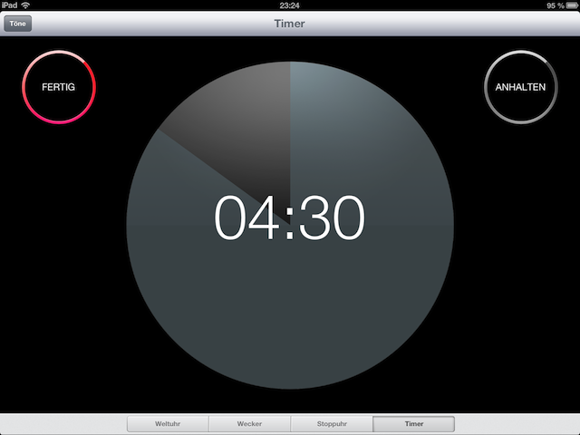 Screenshot iOS 6 Timer (iPad)